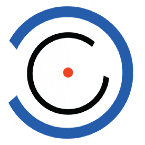 Bright blue, navy and red Cycura icon